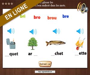 Exercices interactifs, replacer les syllabes dans les mots