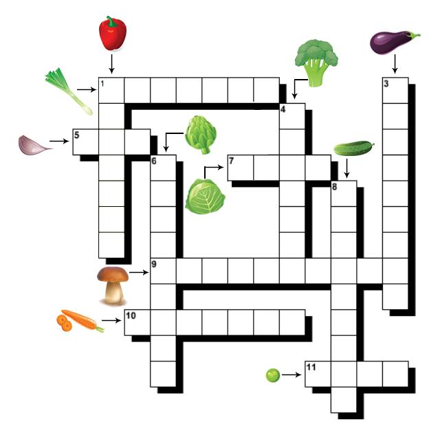 Mots fléchés faciles à imprimer, les légumes