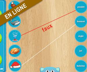 Exercice en ligne ; relier chaque dessin au mot qui correspond