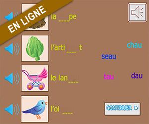 Exercice en ligne ; replacer les syllabes dans les mots