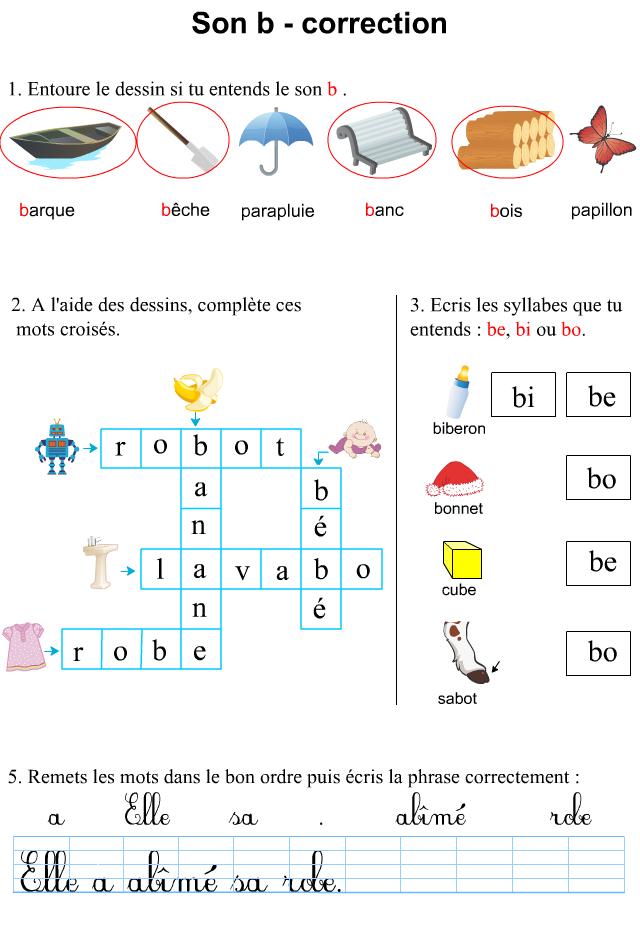 fiche d 39 exercices imprimer le son b apprendre lire. Black Bedroom Furniture Sets. Home Design Ideas