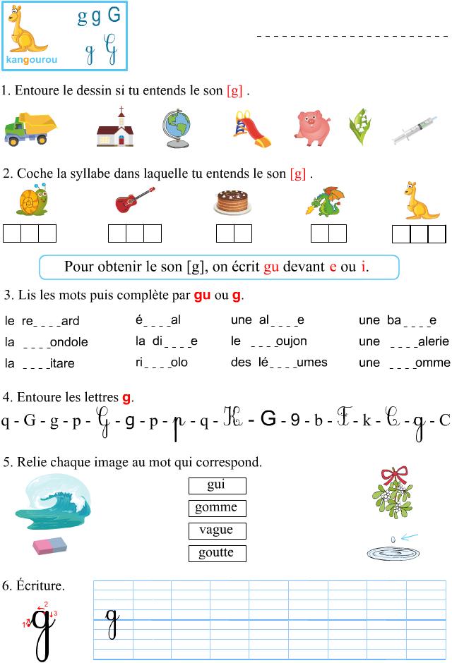 Fabuleux Fiche d'exercices à imprimer, le son [g] - Apprendre à lire ME81
