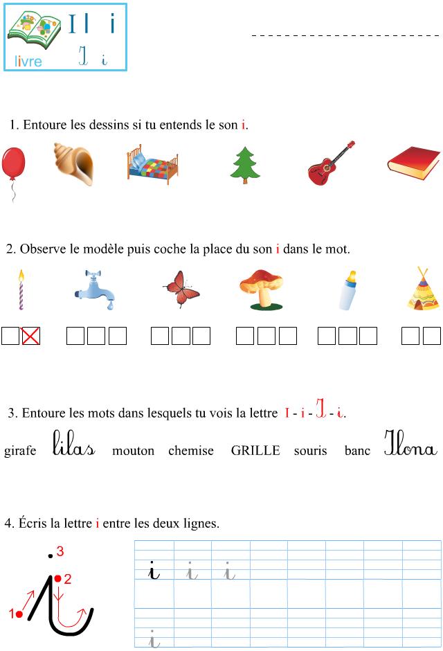 Extrêmement Fiche d'exercices à imprimer, le son i - Apprendre à lire CR64
