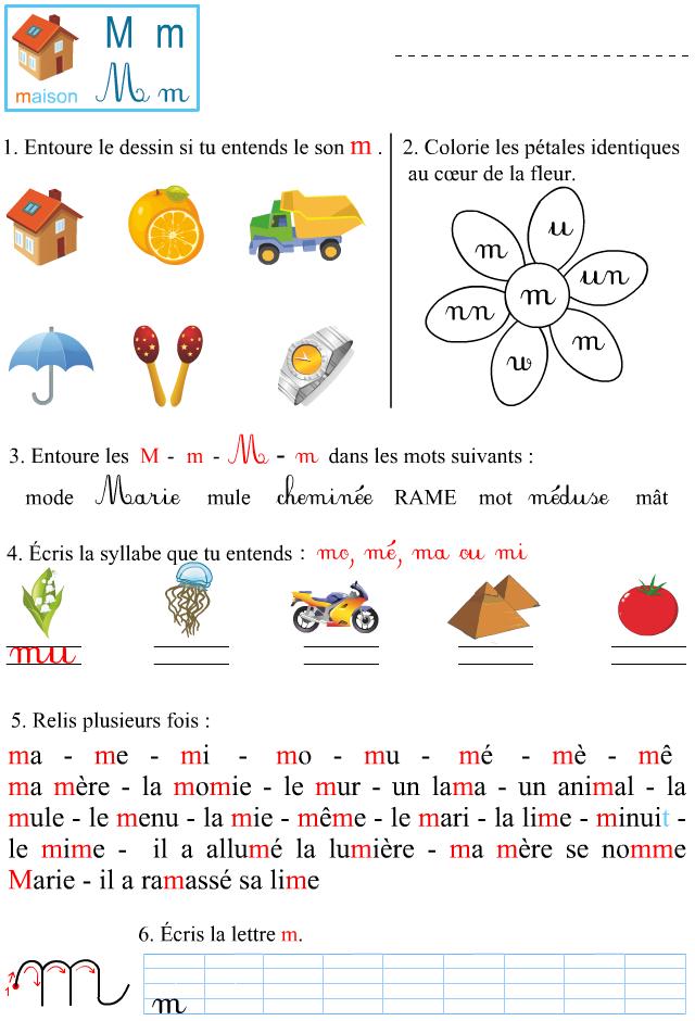Préférence Fiche d'exercices à imprimer, le son m - Apprendre à lire DV78