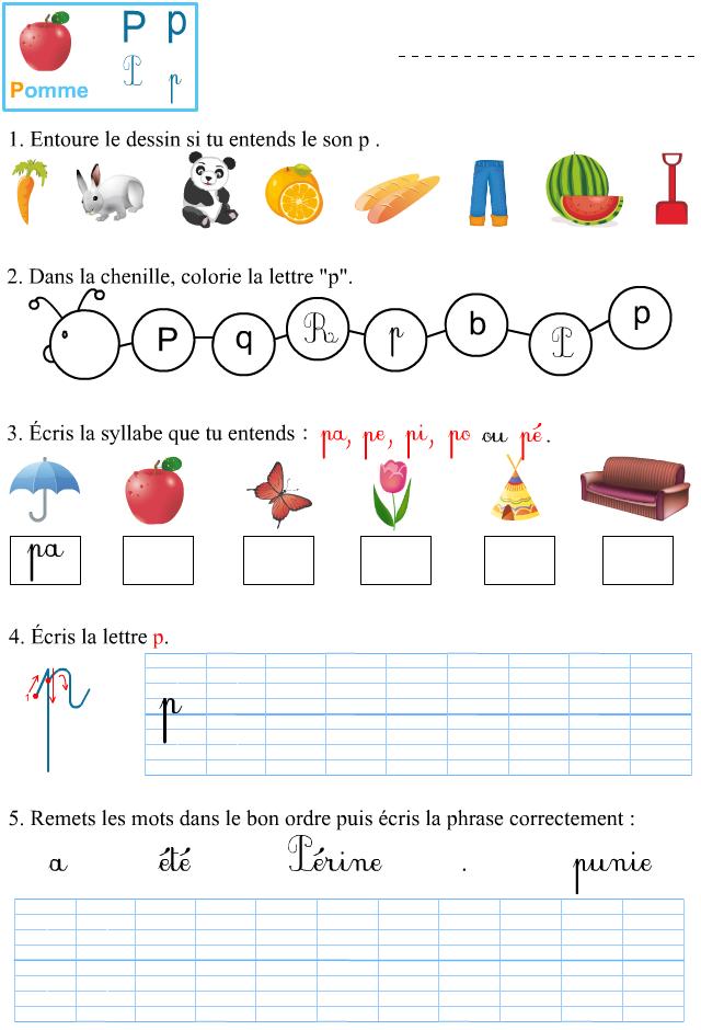 Préférence Fiche d'exercices à imprimer, le son p - Apprendre à lire DV78