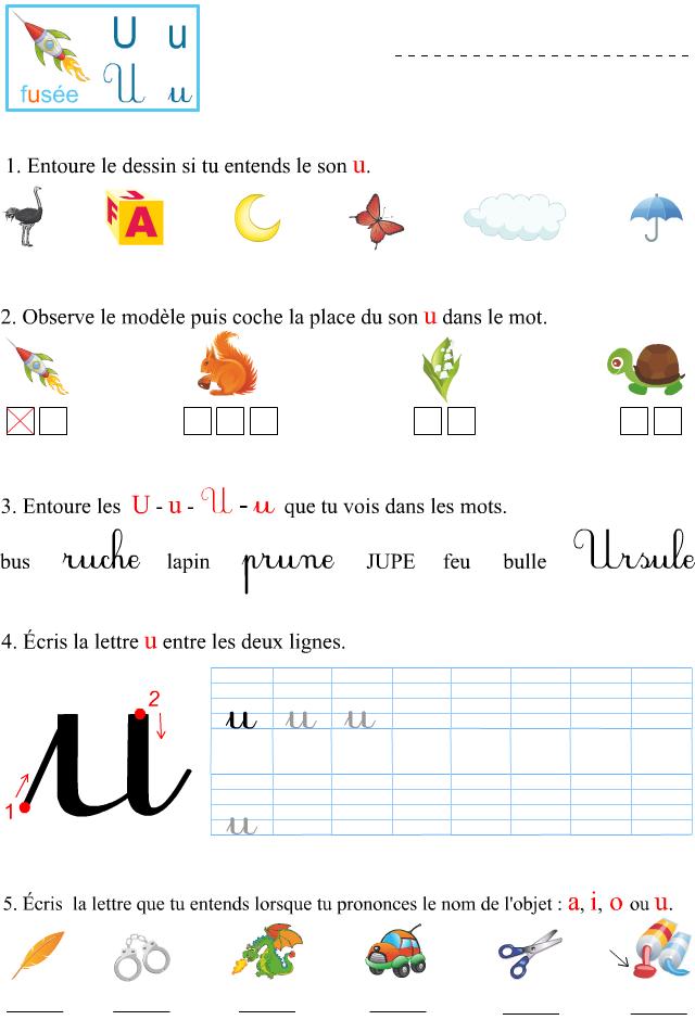 Assez Fiche d'exercices à imprimer, le son u - Apprendre à lire RQ88